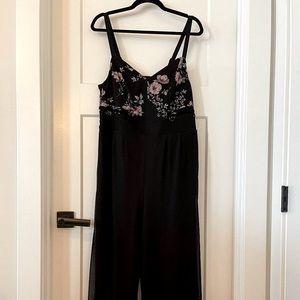 NWT Torrid Black Jumpsuit Floral Lace Wide Leg